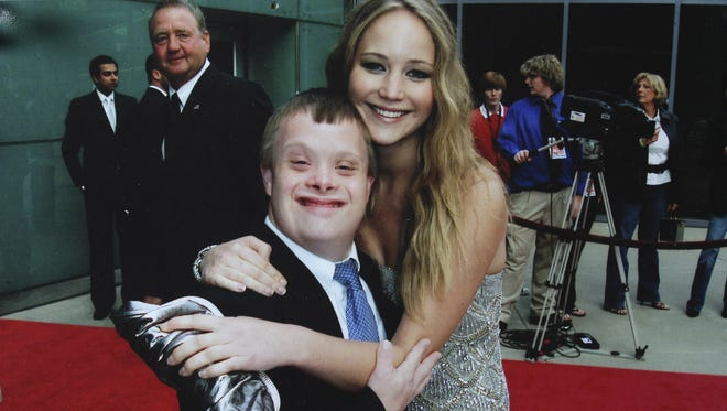 Andy Strunk, left, and actress Jennifer Lawrence pose at the 2009 Louisville International Film Festival in Louisville, Ky. Strunk and Lawrence became friends as classmates Kammerer Middle School in Louisville and continue to have a close relationship.