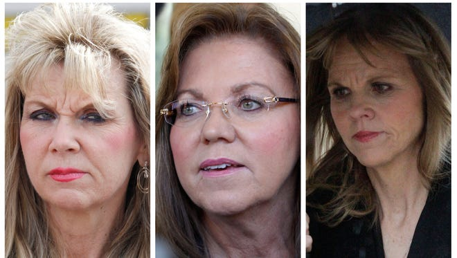 These are file photos of former state senator Jane Orie, right, from Feb. 29, 2012,  her sister Pennsylvania Supreme Court Justice Joan Orie Melvin, center, from May 18, 2012, and their sister Janine Orie, left, from April 7, 2010.