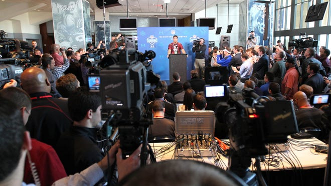Former Notre Dame  linebacker Manti Te'o speaks at a news  conference Saturday during the 2013 NFL scouting combine at Lucas Oil Stadium.