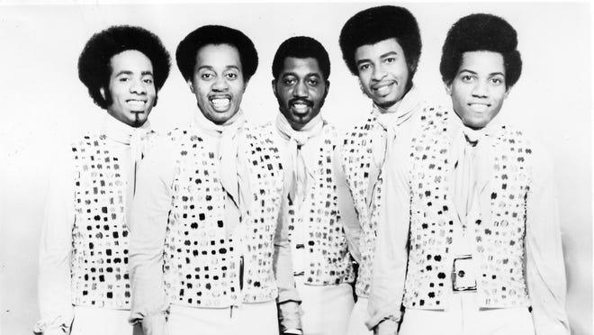 The Temptations, studio group portrait, USA, 1972. Richard Street, left, Melvin Franklin, Otis Williams, Dennis Edwards and Damon Harris.