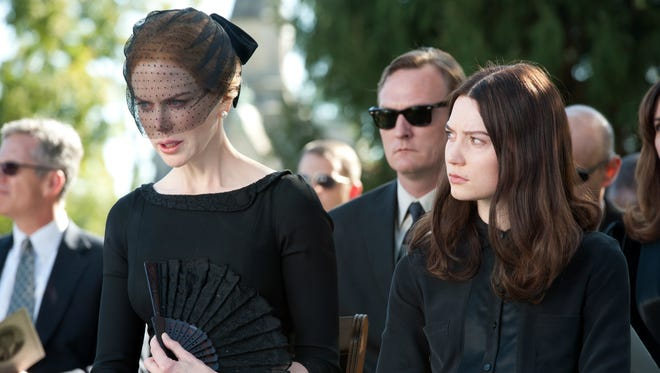 Nicole Kidman, left, and Mia Wasikowska star as a mother and daughter in a jealous standoff in 'Stoker.'
