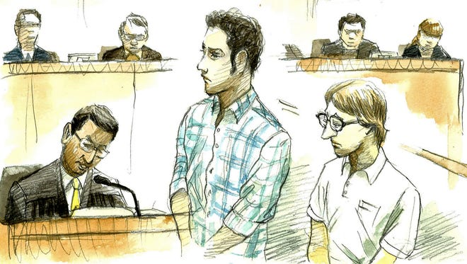 Courtroom sketch of U.S. Navy Seaman Christopher Browning, of Athens, Texas, right, and Petty Officer 3rd Class Skyler Dozierwalker, of Muskogee, Oklahoma.