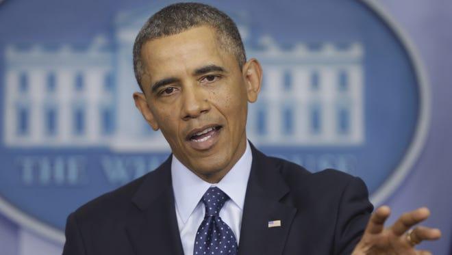 President Obama speaks at the White House on Friday.