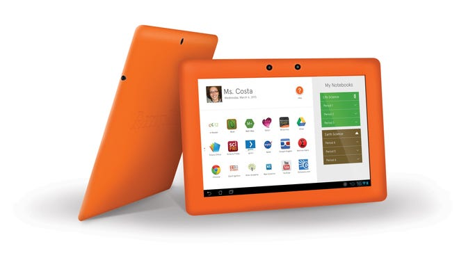 The teacher dashboard of the Amplify tablet, which debuts Weds. March 6, 2013.  It gives teachers greater control over how students use their tablets and enables them to monitor their usage in real-time.  Handout from Amplify