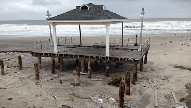 The boardwalk in Avon-by-the-Sea, N.J. is destroyed near the Shark River inlet on Oct. 30, 2012 in the wake of Hurricane Sandy.