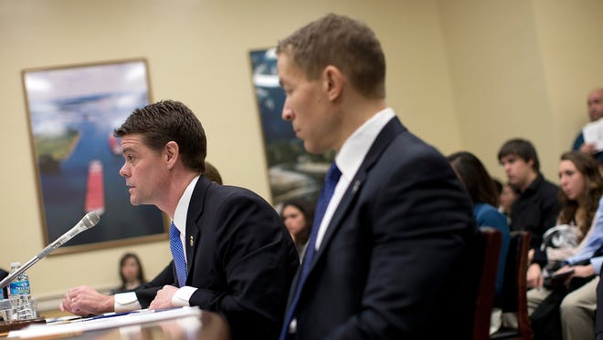 Immigration and Customs Enforcement (ICE) Director John Morton, left, and Deputy ICE Director Daniel Ragsdale testify before the House Homeland Security Subcommittee March 14 in Washington.