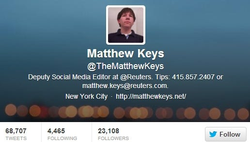 A screengrab of the Twitter page of Matthew Keys, 26, of Secaucus, N.J.