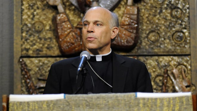 Archbishop Salvatore Cordileone speaks at St. Mary's Cathedral in San Francisco on July 27.