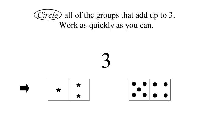 """This image provided by the University of Missouri shows an illustration part of a University of Missouri study that examined first-gradersí """"number system knowledge,"""" or how well they understand such things as that numbers represent quantities."""