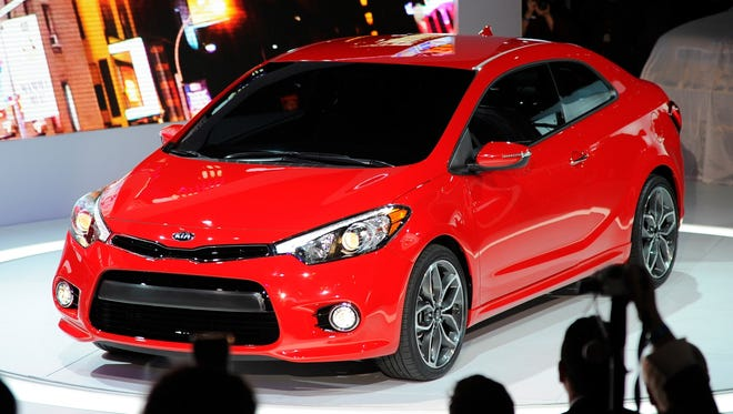 The redesigned Forte Koup, the new coupe version of the redone 2014 Forte compact sedan line.