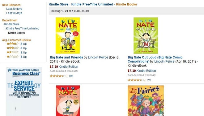A screenshot of Amazon Prime's Kindle Books for kids
