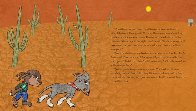"""""""Pancho Rabbit and the Coyote"""" by Duncan Tonatiuh is a new children's book coming out next month about a cartoon rabbit who illegally crosses the southwest border. One of the inside pages shows Pancho Rabbit crossing the desert with Senor Coyote."""
