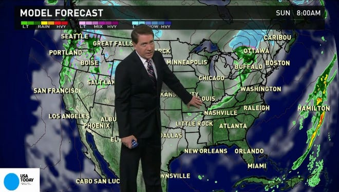 Meteorologist Topper Shutt says there is a weak storm in the middle on Saturday. That will bring a mixture of snow and rain to northern Minnesota and Michigan and the Rockies. Dry and cool in the East but pleasant. Showers remain in the Northwest though not as widespread.
