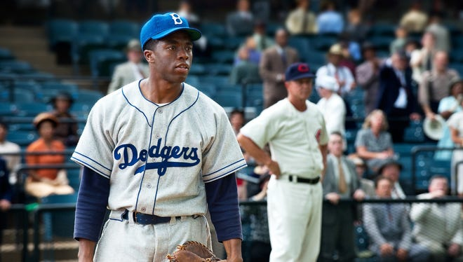 Chadwick Boseman is fantastic as Jackie Robinson, but '42' is a disappointingly formulaic film.