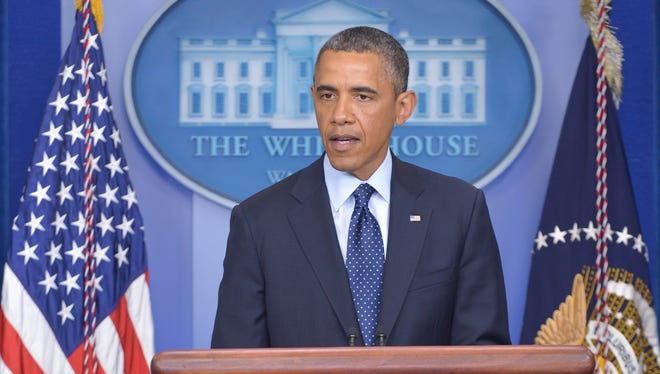 President Obama delivers a statement on the Boston Marathon explosions at the White House on Monday.