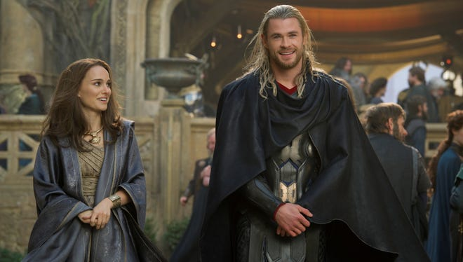 Natalie Portman as Jane Foster and Chris Hemsworth as Thor in a scene from the motion picture 'Thor: The Dark World.'