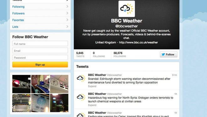 The Syrian Electronic Army, which supports President Bashar al-Assad, reportedly hacked into BBC Weather's Twitter account earlier this year and posted several political messages related to Syria.