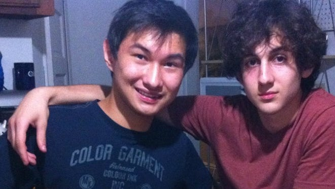 A photo found on the Dias Kadyrbayev's VK page shows Kadyrbayev, left, with Boston Marathon bombing suspect Dzhokhar Tsarnaev. Kadyrbayev and Azamat Tazhayakov, two college buddies of Tsarnaev from Kazakhstan, were jailed by immigration authorities the day after his Tsarnaev's capture. They are not suspects, but are being held for violating their student visas by not regularly attending classes, Kadyrbayev's lawyer, Robert Stahl said. They are being detained at a county jail in Boston.