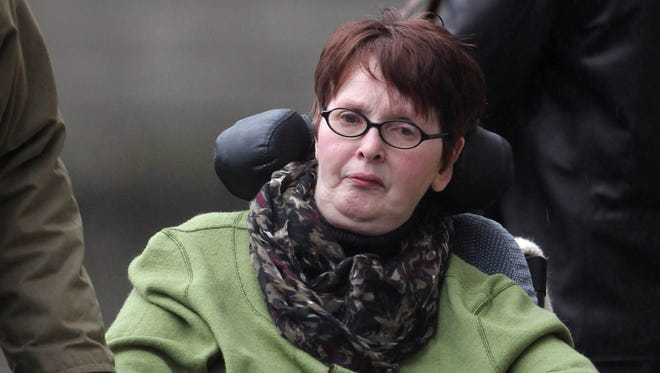 A Jan. 10, 2013 photo from files showing Marie Fleming, a terminally ill woman who suffers from multiple sclerosis (MS). The paralyzed Irish woman who wants to die cannot legally commit suicide with her partner's help, Ireland's Supreme Court ruled Monday.