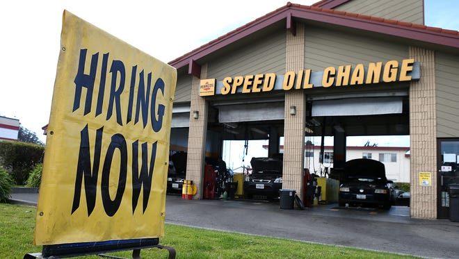 "EL CERRITO, CA - MARCH 08:  A ""Hiring Now"" sign is posted in front of a Pennzoil Speed Oil Change shop on March 8, 2013 in El Cerrito, California.  The Labor Department reported today that 236,000 jobs were added in February, bringing the national unemployment rate down to 7.7 percent, the lowest level since December 2008.  (Photo by Justin Sullivan/Getty Images) ORG XMIT: 163506425 ORIG FILE ID: 163366210"