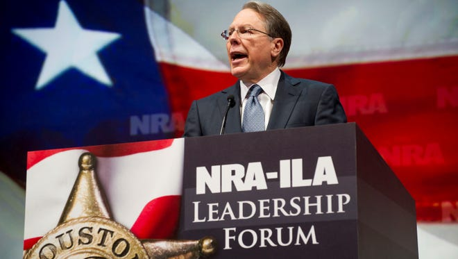 NRA Executive Vice President and Chief Executive Officer Wayne LaPierre speaks May 3, 2013, during the leadership forum at the National Rifle Association's annual meeting.