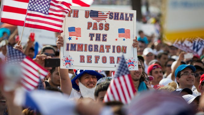 Scenes from a Capitol Hill rally on behalf of an immigration overhaul bill.