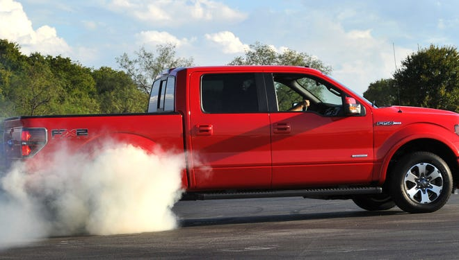 Ford EcoBoost V-6 makes a tire-smoking debut in F-150 at Dallas in September 2010.
