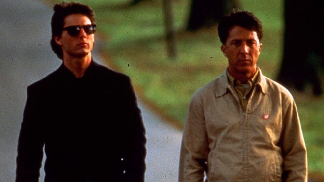 """Tom Cruise, left, stars as Charlie Babbitt and Dustin Hoffman, right, stars as Raymond Babbitt in  """"Rain Man,"""" directed by Barry Levinson and filmed in the Cincinnati area. This scene was filmed at St. Anne Convent in Melbourne, Ky."""