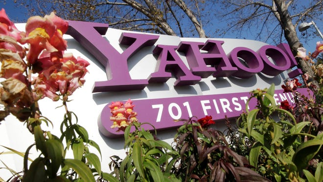 The company logo is displayed at Yahoo headquarters in Sunnyvale, Calif.