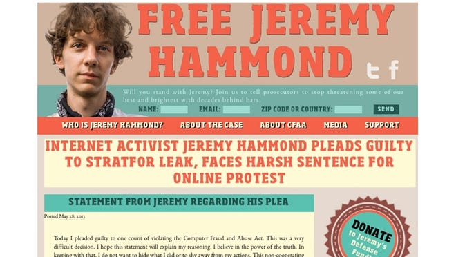 Jeremy Hammond is asking for donations to his legal fund via his website.