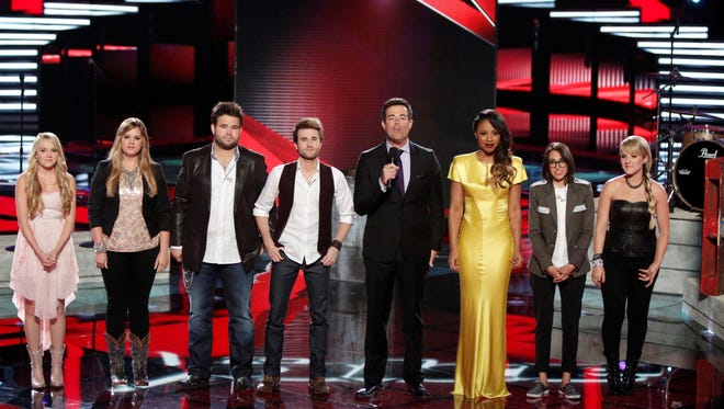 """Who went home on """"The Voice""""? Pictured: (l-r) Danielle Bradbery, Holly Tucker, Zach Swon, Colton Swon of The Swon Brothers, Carson Daly, Sasha Allen, Michelle Chamuel, Amber Carrington"""