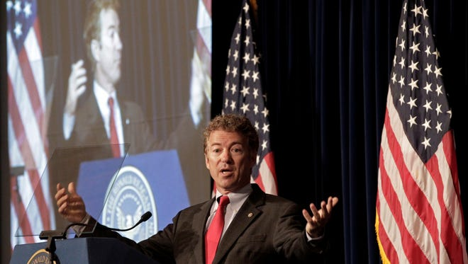 Sen. Rand Paul, R-Ky., speaks at the Ronald Reagan Presidential LIbrary in Simi Valley, Calif. on May 31, 2013.