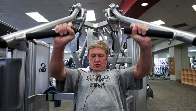 Hal Bomar works out at the Downtown YMCA in Louisville, Ky. on June 6. He suffers from low testosterone, but he says that he is benefiting from testosterone replacement therapy.