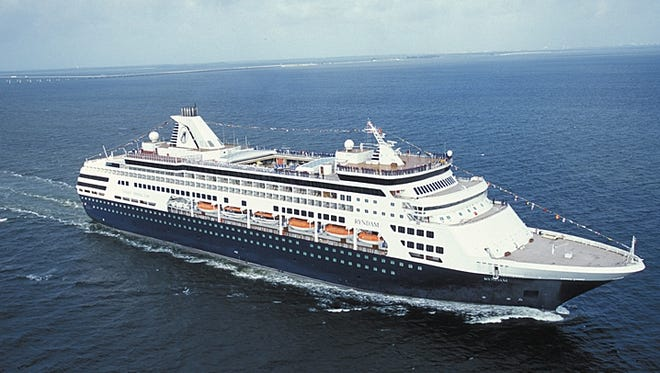 The 1258-passenger HAL ship ms Ryndam at sea.  Entering service on October 20, 1994 and built in Monfalcone, Italy, she is the third in the company?s history to bear this name.  There are 10 passenger decks.  Onboard is a $2 million collection of art and artifacts from the 17th ,18th and 19th centuries, themed to Dutch worldwide exploration.   Photo Credit: HAL