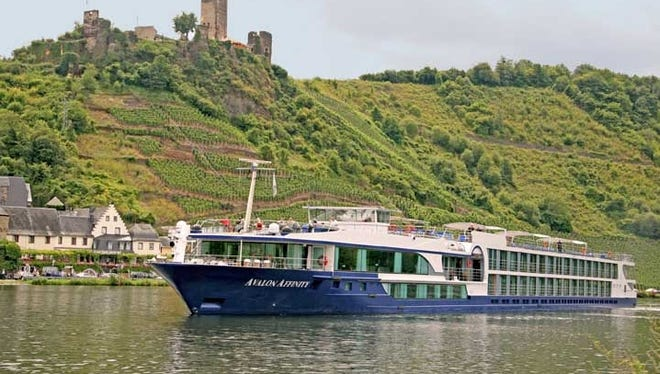 Avalon Affinity; Moselle River; Germany; River Cruise; River Cruising; exterior; castle; town; architecture; vineyard;