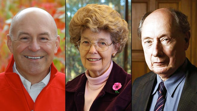The World Food Prize Foundation shows, Robert T. Fraley, from left, Mary-Dell Chilton and Marc Van Montagu were named as winners of the 2013 World Food Prize.