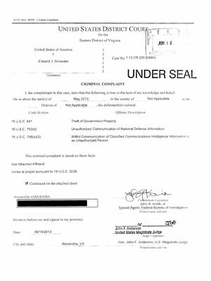 A copy of the criminal complaint filed by the United States government against Edward Snowden for leaking NSA documents to the press.