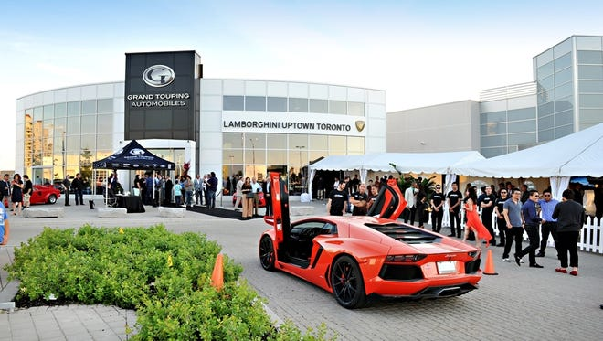 Italian super-car brand Lamborghini opens a dealership in Toronto, making three in Canada, and one in Dever, for 29 in U.S. Displayed: Aventador LP 700-4 Coupe.