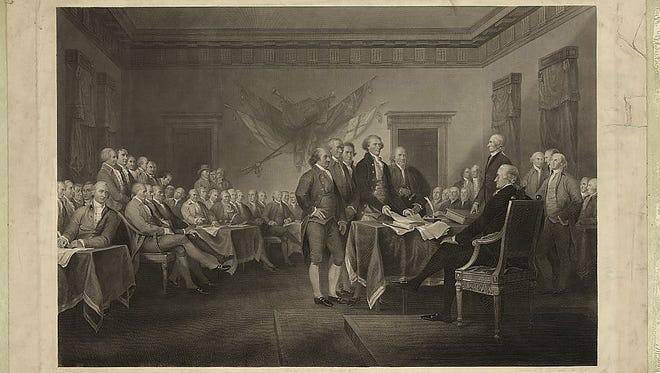 Declaration of Independence, July 4th, 1776 painted by J. Trumbull and engraved by W.L. Ormsby, N.Y.