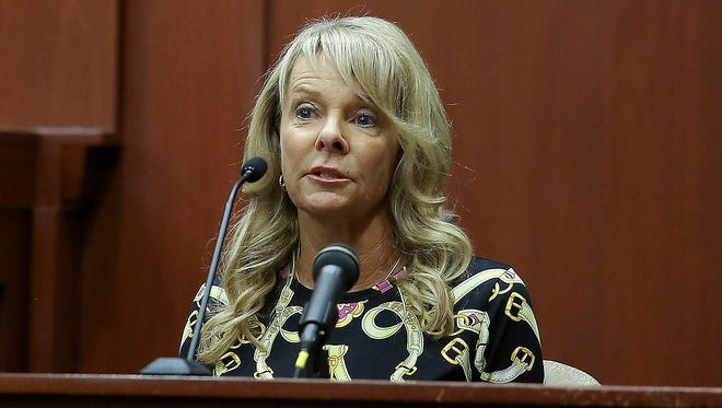 Witness Jane Surdyka gives her testimony during George Zimmerman's trial in Seminole circuit court in Sanford, Fla. Wednesday, June 26, 2013. Zimmerman has been charged with second-degree murder for the 2012 shooting death of Trayvon Martin.(AP Photo/Orlando Sentinel, Jacob Langston, Pool) ORG XMIT: FLJR214