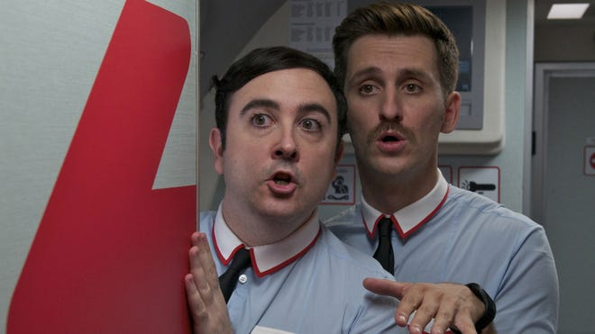 Carlos Areces, left, and Raul Arevalo are  flamboyant flight attendants in 'I'm So Excited.'