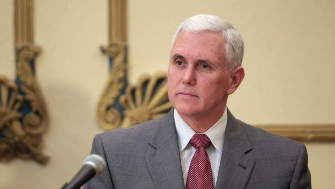 "Indiana Governor Mike Pence speaks at an Indianapolis news conference on April 29, 2013. Pence said in June that ""the people of Indiana should have their say about how marriage is understood and defined in our state."" Some Facebook users who left comments disagreeing with Pence's views on gay marriage say that's exactly what they were trying to do when they were shut out from commenting on Pence's official page."