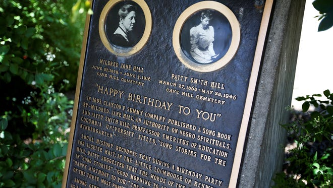 """The sign in Happy Birthday park in Louisville, Ky. on June 18, tells the story of the """"Happy Birthday"""" song."""