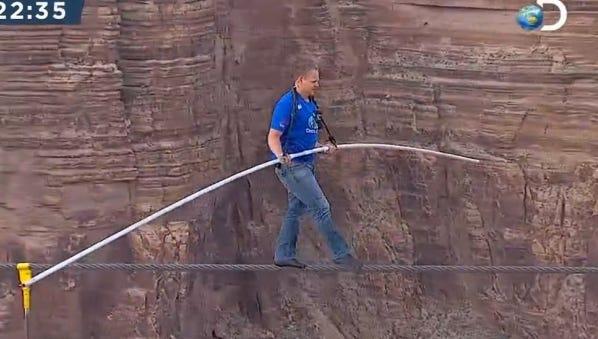 Nik Wallenda walks a tightrope across a gorge near the Grand Canyon in Arizona on June 23.