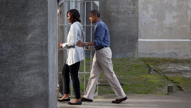 President Obama and first lady Michelle Obama tour Robben Island on June 30, 2013.