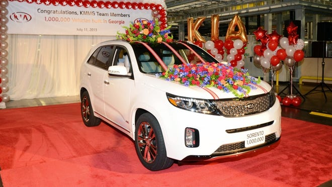 Kia sys it just built its one millionth vehicle at the South Korean automaker's factory in West Point, Ga.
