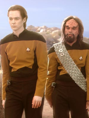 You gotta give props to the 'Big Bang Theory' hair and makeup team for the bang-up job they did making the guys into the cast of 'Star Trek: The Next Generation.'