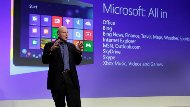 Microsoft CEO Steve Ballmer launches Microsoft Windows 8, in New York,  on Oct. 25, 2012.