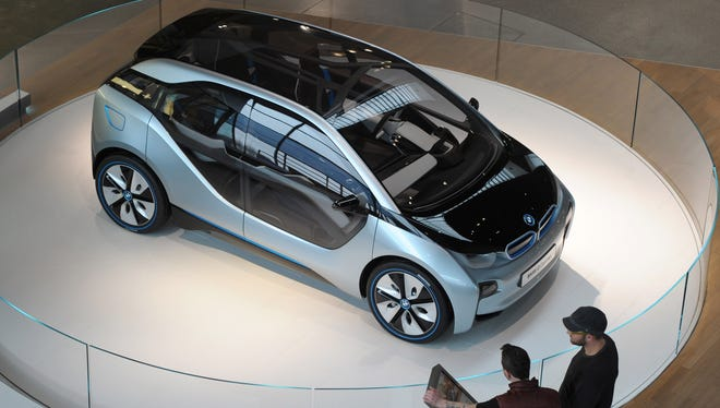 Concept version of BMW's i3 electric car displayed during the company's annual earnings press conference in Munich, March, 2012.