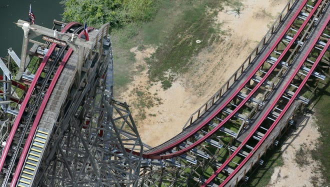 This aerial photo shows the Texas Giant roller coaster at  Six Flags Over Texas where a woman fell to her death July 20 in Arlington, Texas.